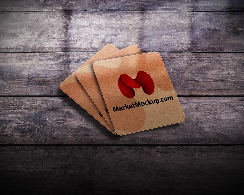 دانلود موکاپ کارت ویزیت مربع لمینت