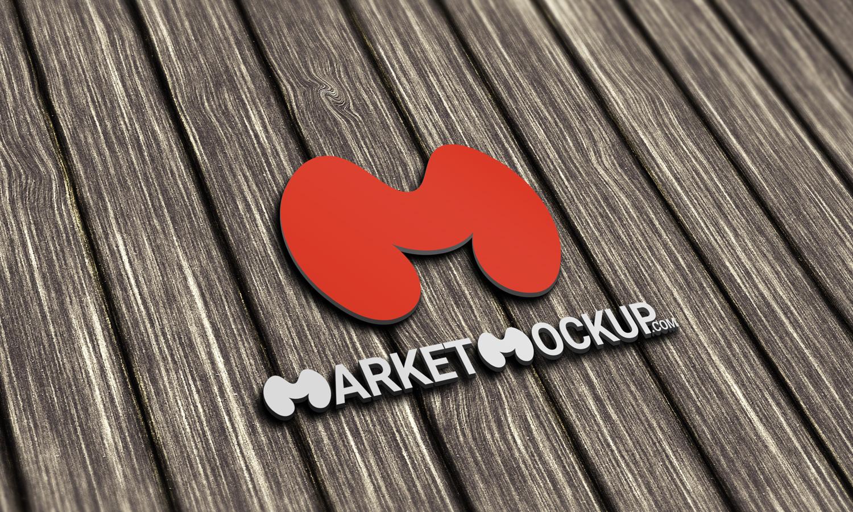 دانلود موکاپ لوگو سه بعدی روی چوب