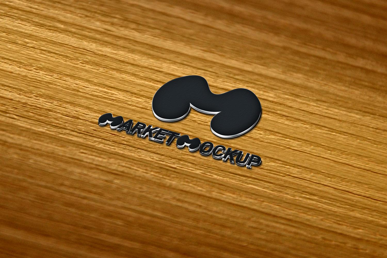 دانلود موکاپ لوگو سه بعدی بر روی سطح چوبی