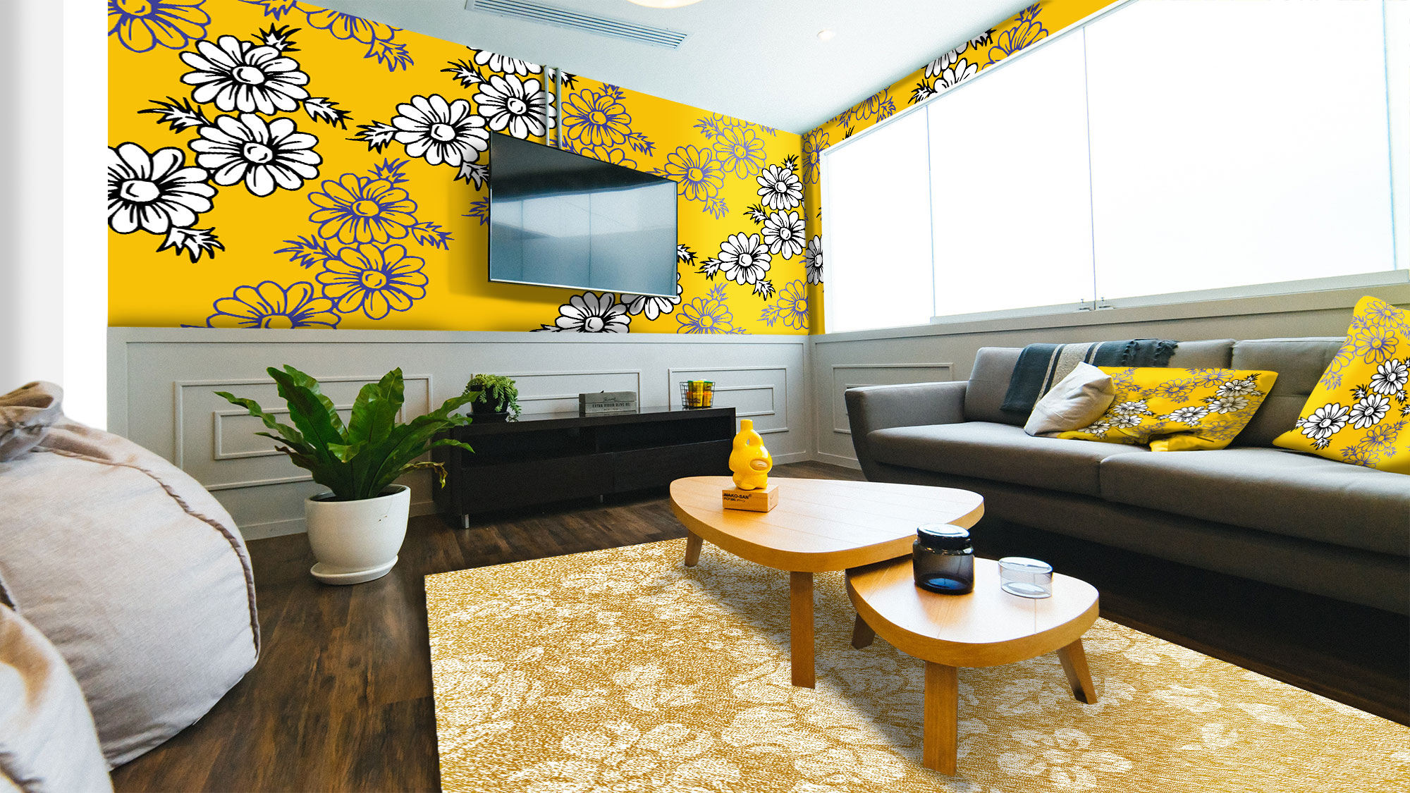 دانلود موکاپ کاغذ دیواری و کوسن و فرش
