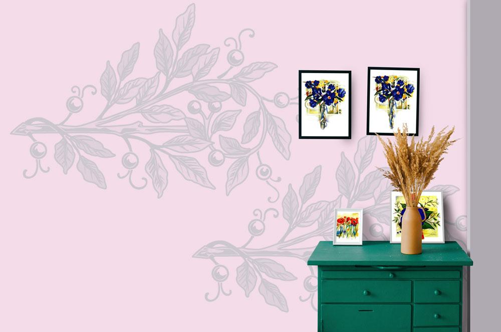 دانلود موکاپ کاغذ دیواری و تابلو در اتاق