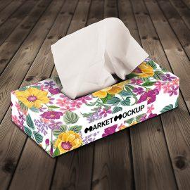 دانلود موکاپ جعبه دستمال کاغذی در 3 نما