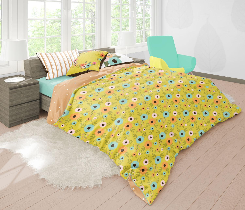 دانلود موکاپ تخت دو نفره در اتاق خواب با ویویی زیبا 4نما