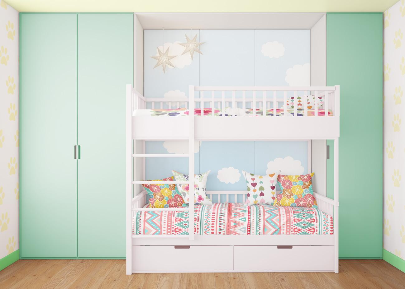 دانلود موکاپ اتاق خواب کودک و نوجوان (تخت دو طبقه)
