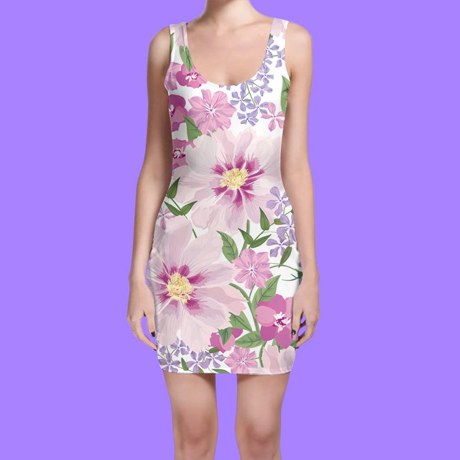 دانلود موکاپ لباس آستین حلقه ای یقه گرد بلند زنانه(سارافون)مدل10
