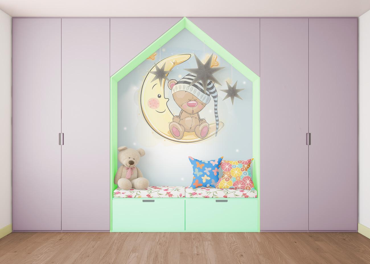 دانلود موکاپ تخت و کمد اتاق خواب کودک 2 مدل