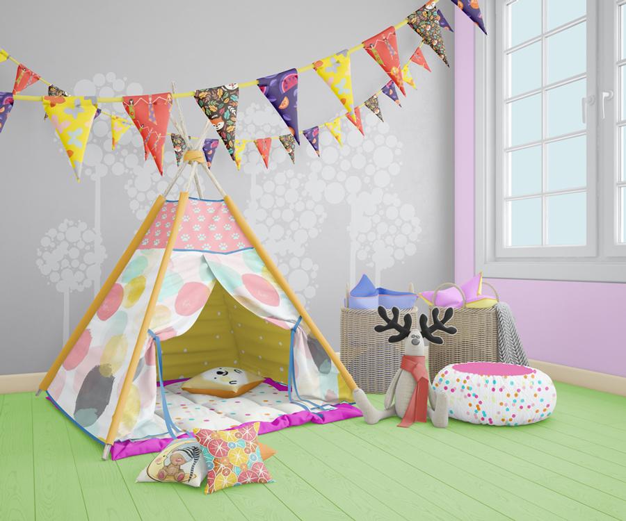 دانلود موکاپ دکوراسیون اتاق کودک همراه با ویگام(خانه رویاهای کودک)