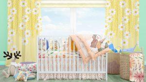 دانلود موکاپ تخت و روتختی کودک همراه با پرده و مبل پاف در 2 نمای متفاوت