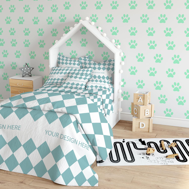 دانلود موکاپ دکوراسیون اتاق خواب کودک( کاغذ دیواری , پرده , روتختی , مبل پاف)