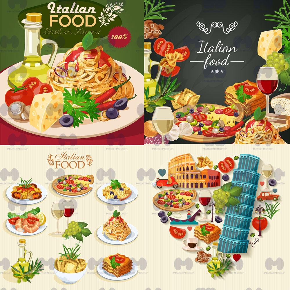 دانلود وکتور غذاهای ایتالیا