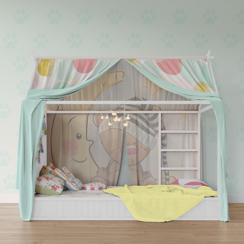 دانلود موکاپ اتاق خواب کودک همراه با تخت و روتختی و پرده پشه بند
