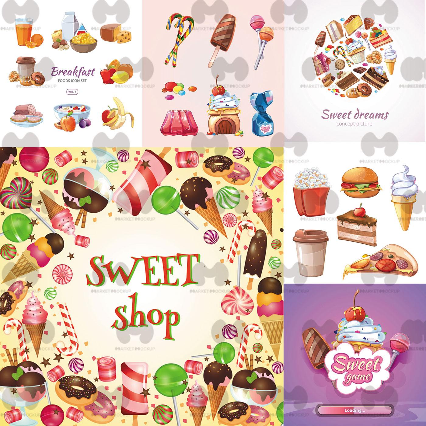 دانلود وکتور مجموعه شیرینی و کیک خوشمزه همراه با فست فود (شامل 20 فایل وکتور)