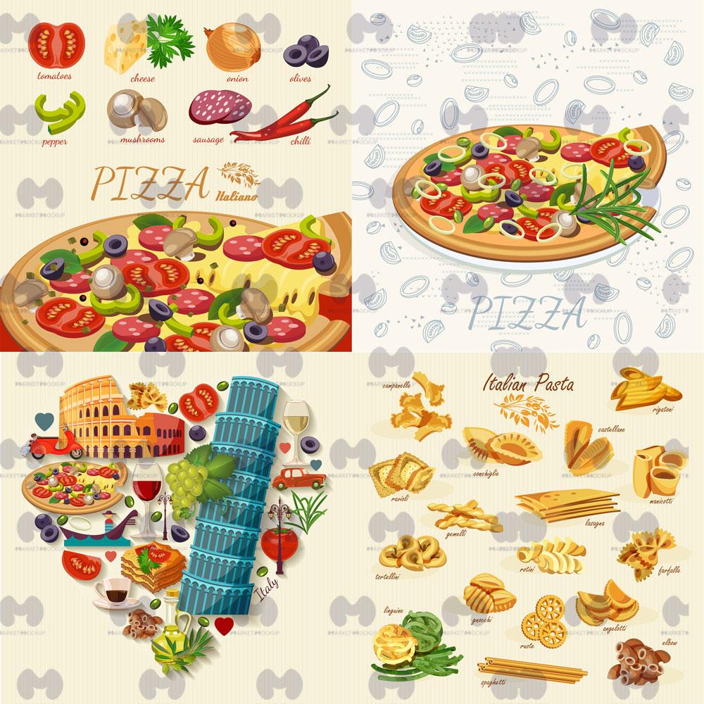 وکتور غذاهای ایتالیا