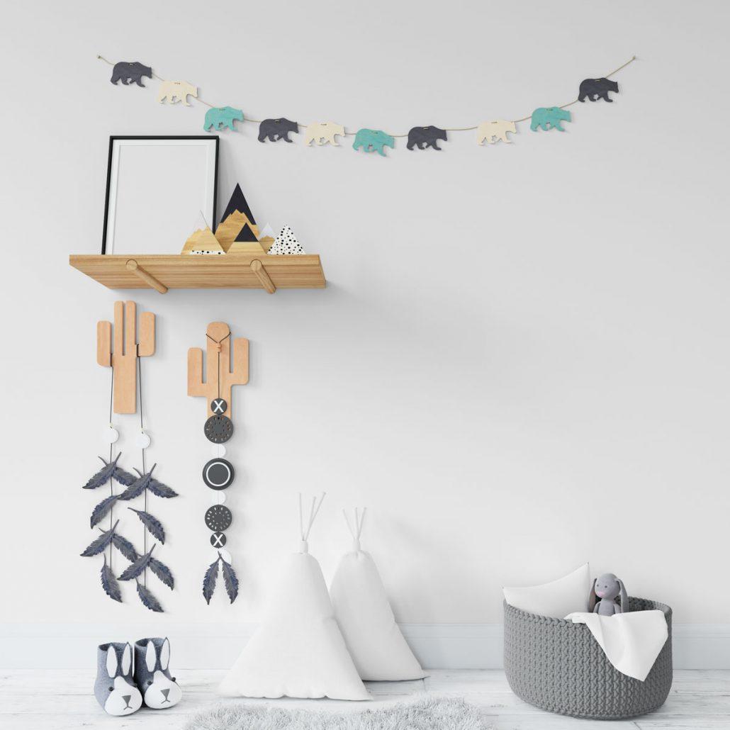موکاپ کوسن مثلث و کاغذ دیواری
