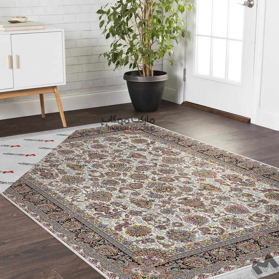 موکاپ فرش ایرانی در خانه مدرن