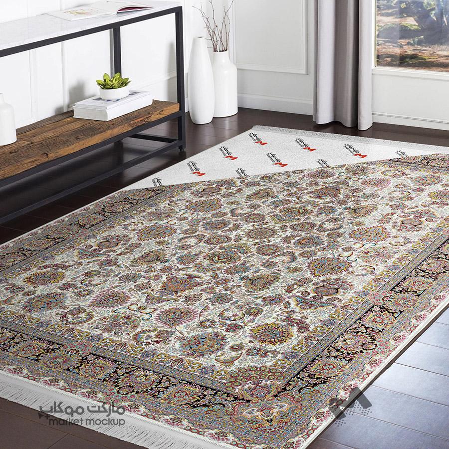 موکاپ فرش و قالی روی زمین