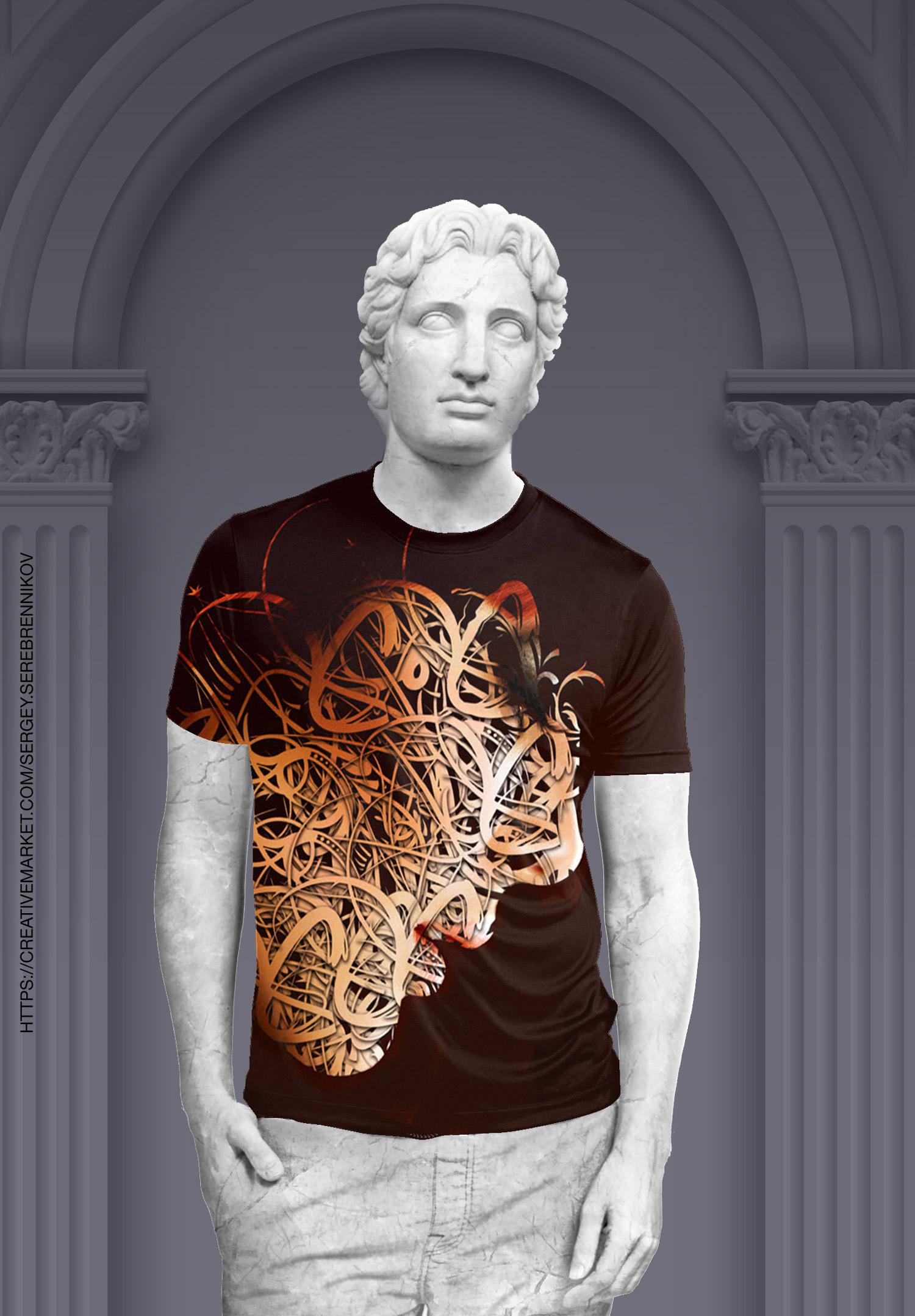 موکاپ تی شرت مردانه یقه گرد