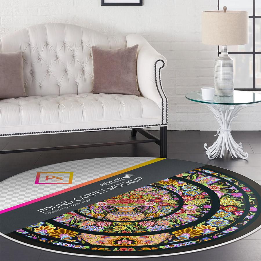 موکاپ فرش گرد در پذیرایی جلو مبل