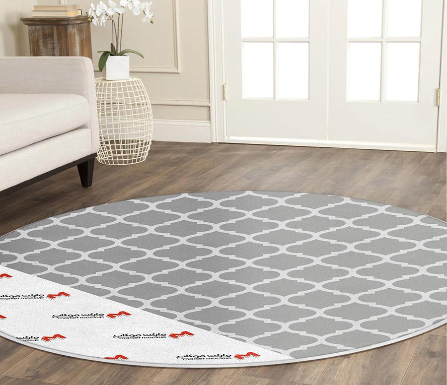 موکاپ فرش گرد در پذیرایی 2