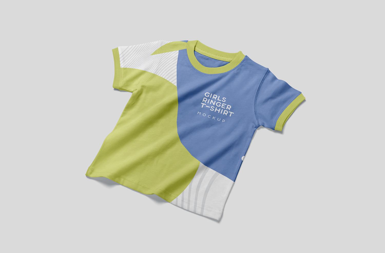 موکاپ تی شرت دخترانه و پسرانه از سه نمای مختلف