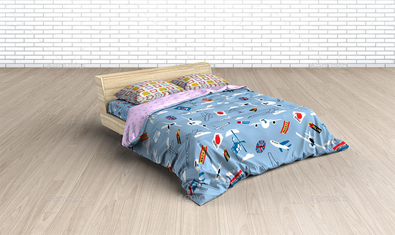 موکاپ تخت و ست رو تختی کودک در چهار نمای مختلف