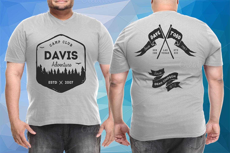 موکاپ تی شرت مردانه سایز بزرگ به صورت پشت و رو