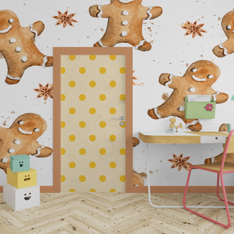 موکاپ درب و کاغذ دیواری اتاق کودک در سه نما