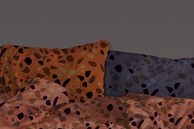 موکاپ ست بالش(بالشت) روی تخت