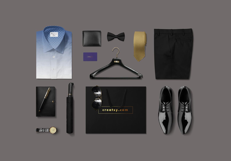 موکاپ ست لباس و لوازم اداری مردانه