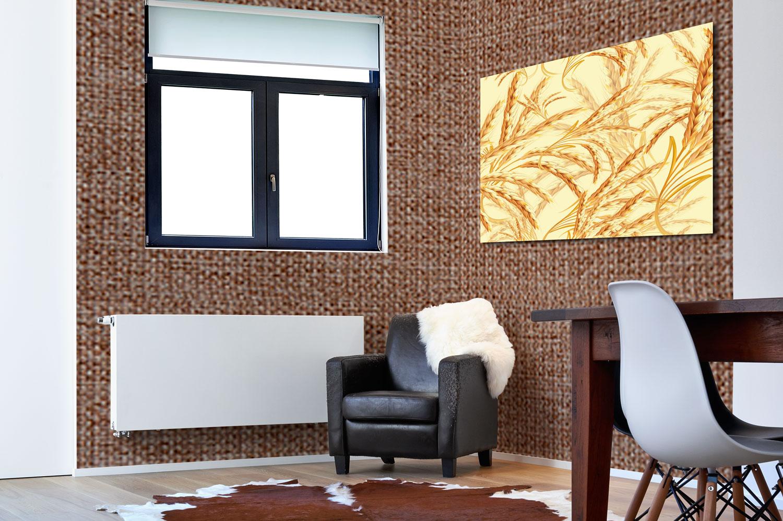 موکاپ کاغذ دیواری و قاب عکس در اتاق