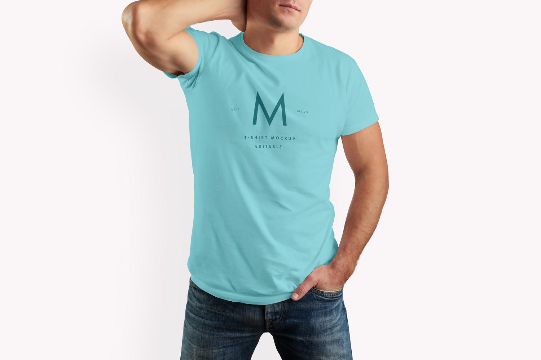 موکاپ تی شرت مردانه و پسرانه به صورت پشت و رو با مدل زنده