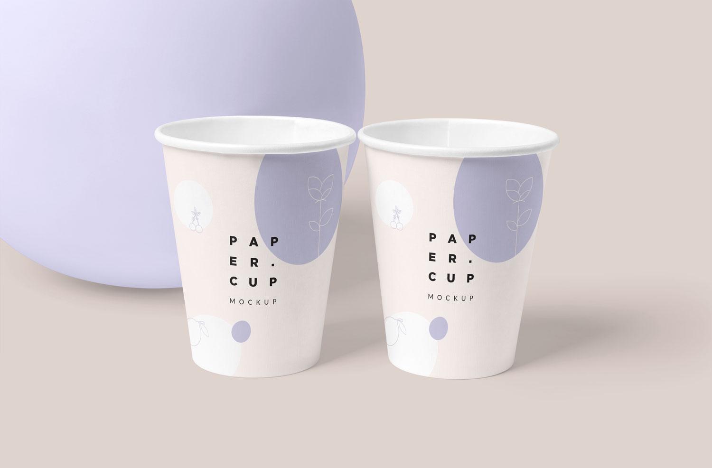موکاپ لیوان یک بار مصرف دوتایی(کاغذی)در 4 نما