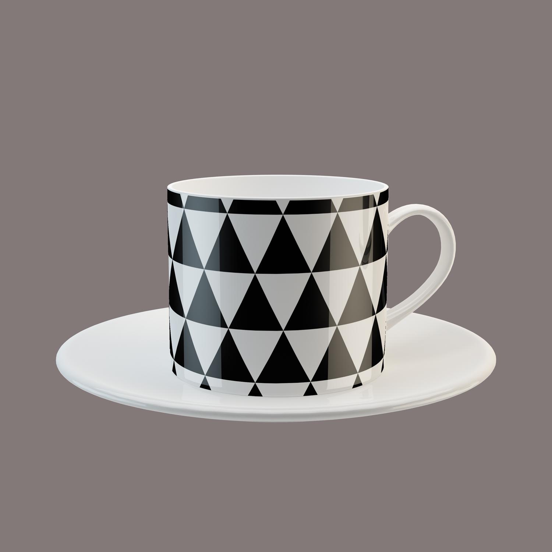 موکاپ فنجان چایی همراه با زیر فنجانی