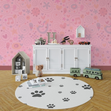 دانلود موکاپ فرش و کاغذ دیواری در اتاق خواب کودک در دو نما و سه طرح
