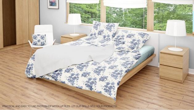 دانلود موکاپ اتاق خواب مدرن با 5 نما