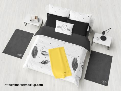 دانلود موکاپ اتاق خواب و تخت ۲ نفره