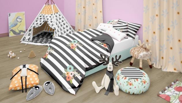 دانلود موکاپ تخت خواب کودک همراه با ویگام(خانه رویاهای کودک) در 2 نما از اتاق